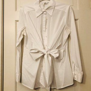Cabi Women's Size M White Button Down & Tie Front